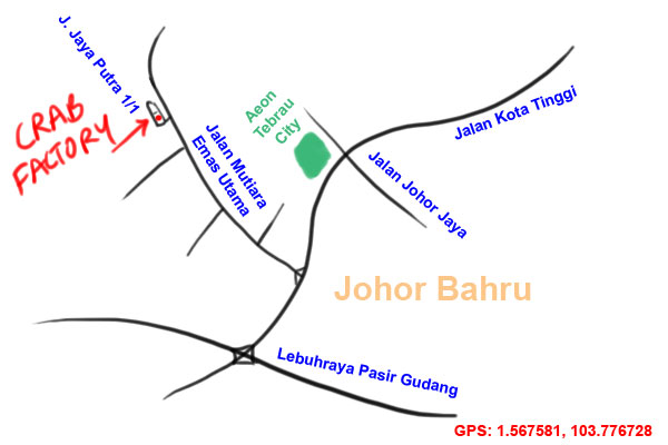 map to Crab Factory, Little Paris, Johor Bahru