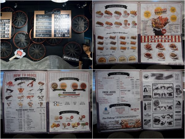 menu with price list on the table, and on the wall