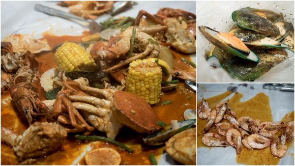 brown crab set, mussels, and more shrimps