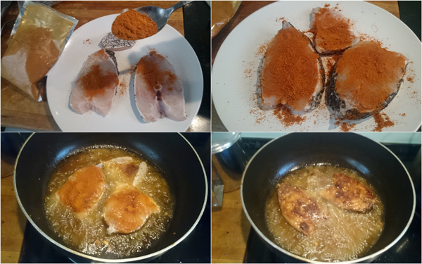 cover the fish with a layer of curry powder before frying