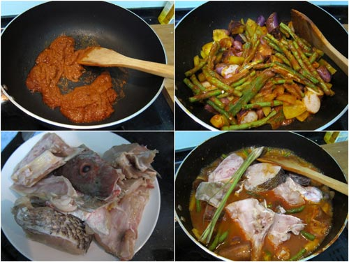 fry the chili paste and vegetable first before adding fish