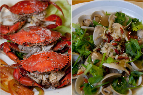 salt bake crab, village special steamed clam