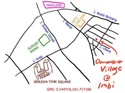 map to damansara village at Imbi