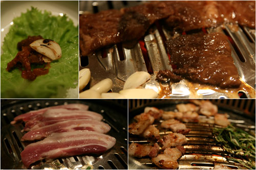 galbi (marinated beef), 3 layer pork
