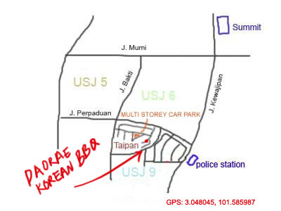 map to Daorae Korean Restaurant at USJ Taipan
