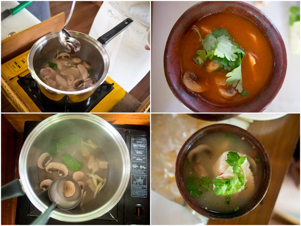 "you can cook the tomyam in either clear or ""red"" version"