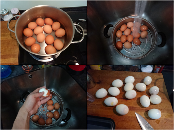 first, make some hard boiled eggs