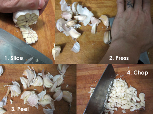 4 steps in dicing garlic