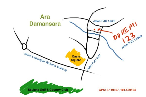 map to restaurant doremi 123, Ara Damansara