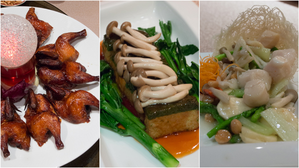 deep fried crispy spring chicken, braised homemade spinach beancurd, stir fry mix vege and fresh scallop