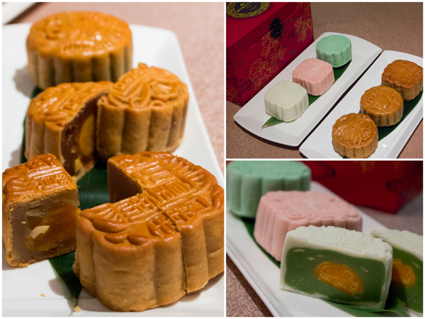 classic and crystal skin mooncake, pandan, lotus paste, egg yolk etc