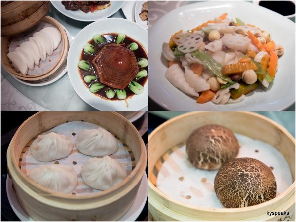 braised pork belly with steamed buns, sauteed mixed vegetable, Shanghainese steamed meat dumpling, steamed black pepper duck meat bun