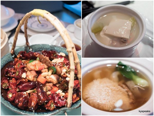 """la zhe chi"", double boiled hydragea beancurd, sea cucumber, and matsutake soup"