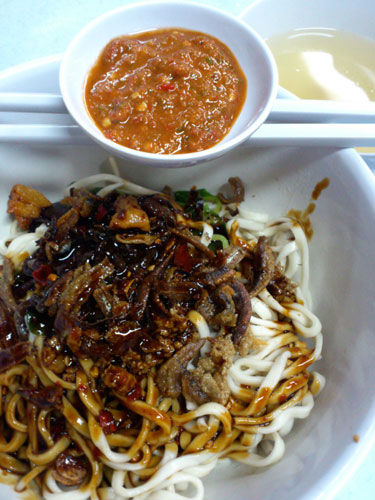 "dry ""mala"" pan mee with chili sauce"