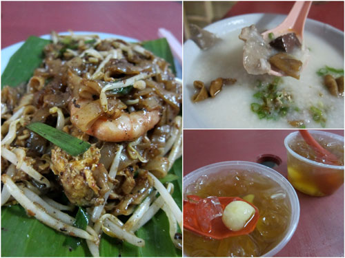 duck egg char kueh teow, pork intestine porridge