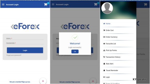 eForex application on Android and iOS devices