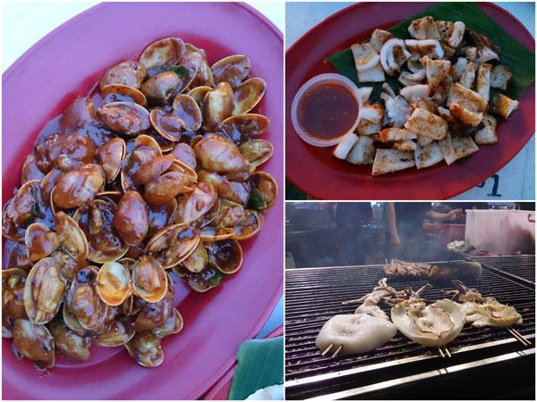 fried lala, sotong bakar (bbq cuttle fish)