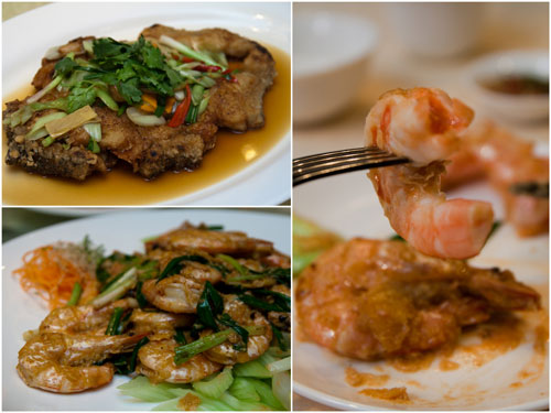 golden fried estuary grouper with chinese leeks, crystal prawns - signature salted egg yolk style