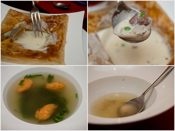 cream of clams, sausage, vegetable in golden pastry; lobster dumpling in clear broth with spinach