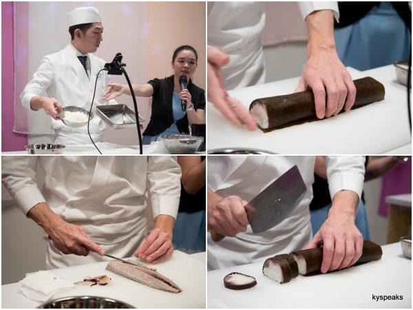 chef Shogo Sasaki of Izuu preparing the famous saba-sugatazushi