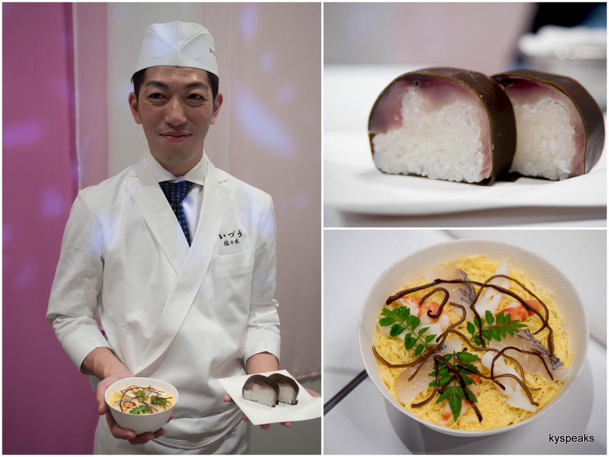 chef Shogo Sasaki of Izuu with his signature dishes