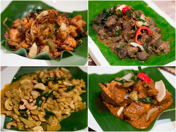 prawn baduma, lamb black pepper curry, cashew and drumstick meat mitikirata, chicken red curry