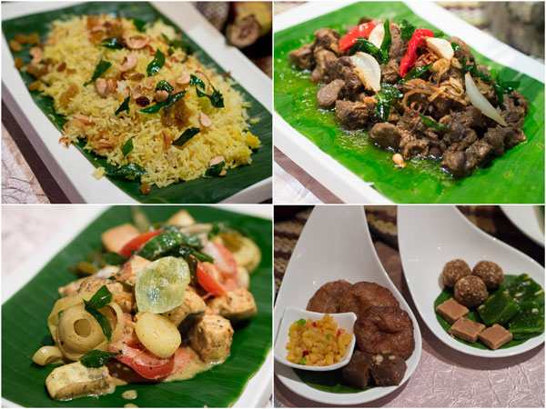 traditional festive yellow rice, beef curry, fish stew, Sri Lankan desserts