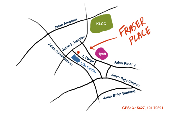 map to Fraser Place, KL
