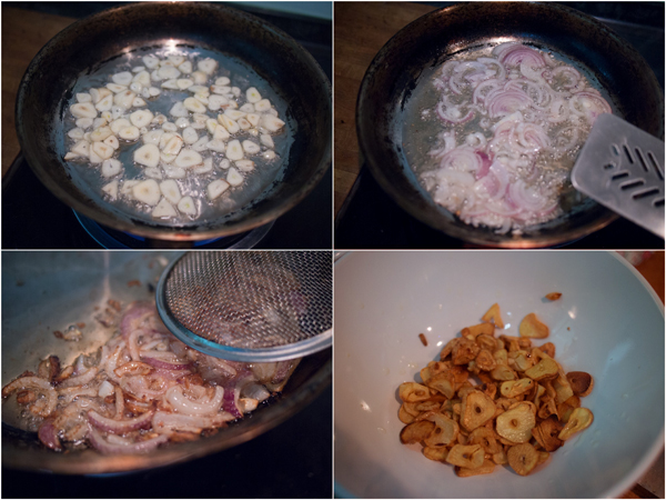 first, fry some chopped garlic and perhaps onion or shallots too