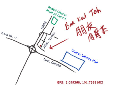 Bak Kut Teh at Taman Cheras, map