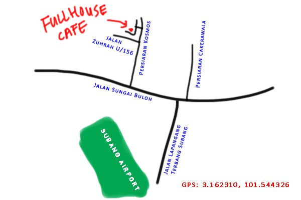 map to fullhouse cafe, Taman Subang Murni