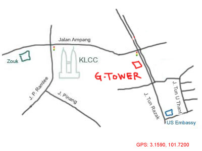 map to G-Tower, KL