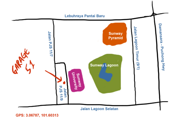 map to Garage 51, Sunway