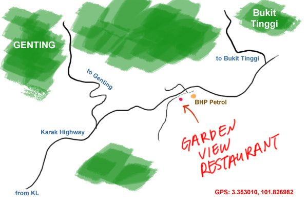 map to Garden View Restaurant, Bukit Tinggi Bentong