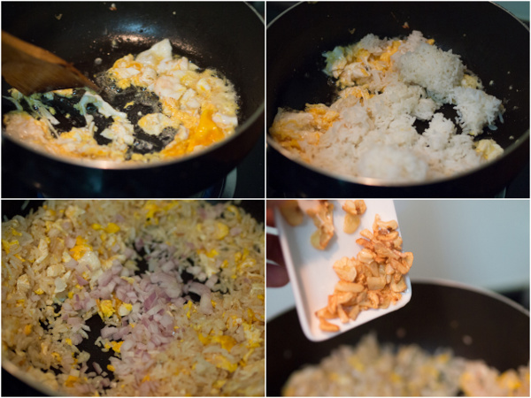 start with the egg, then rice, onion, then everything
