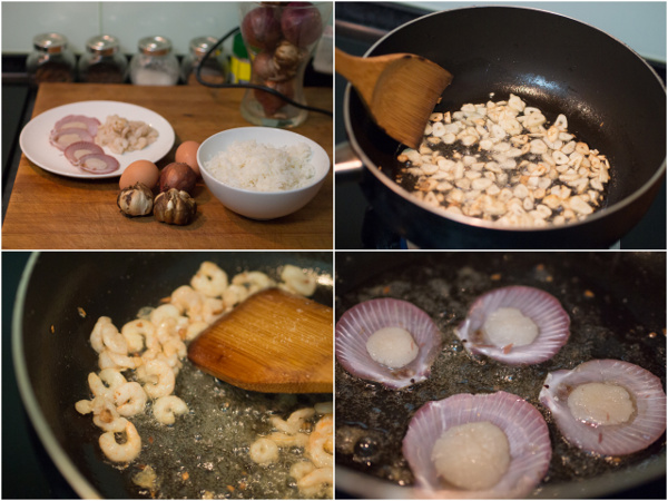 ingredients - garlic, onion, rice, prawns, scallops