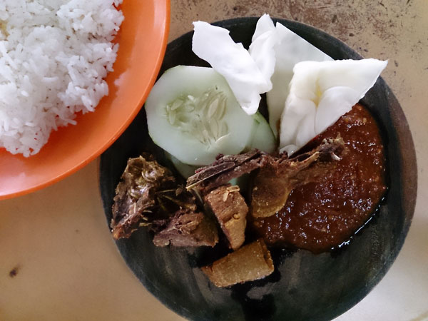 bebek penyet (smashed duck) with excellent sambal