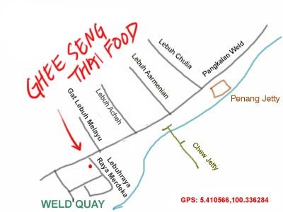map to Ghee Seng Thai restaurant at Weld Quay, Penang