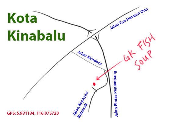 map to GK fish soup, Kota Kinabalu