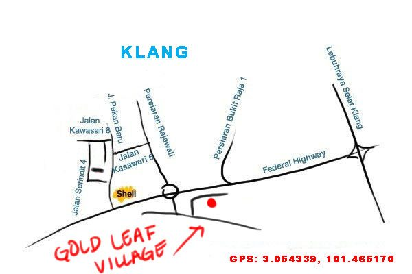 map to gold leaf village restaurant, Klang