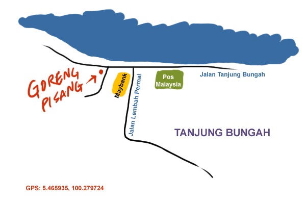 direction to Goreng Pisang stall at Tanjung Bungah