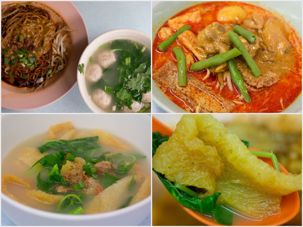 dry curry mee with pork ball, curry mee, and fish swim bladder soup