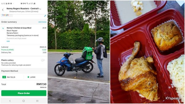 Kenny Rogers via GrabFood using GrabPay