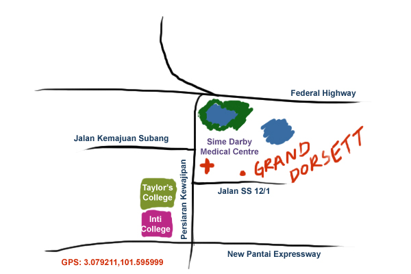 map to Grand Dorsett hotel, Subang Jaya