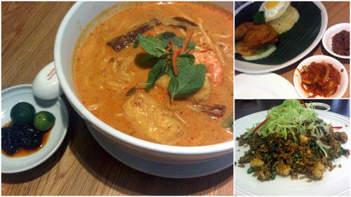 curry laksa, nasi bojari, and hakka fried rice
