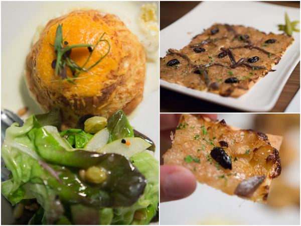 mimolette cheese souffle with raisins & pine nuts, pissaladiere tart with olives and anchovies