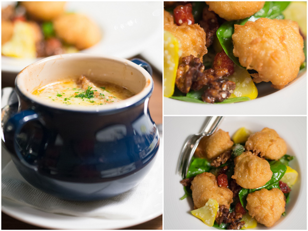 onion soup, petit baguette layered with gruyere cheese, goat cheese beignets with sweet millet & garden salad