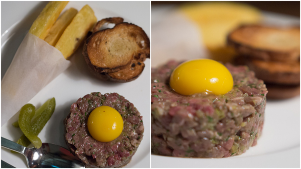 steak tartare with hand cut fries, onion jam, tasted sour dough bread