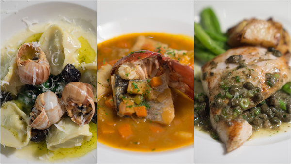 tortellini of potato & fontina with sauteed escargot & baby spinach, bouillabaisse, sea bream, snapper & lobster with toasted baguette & rouille, grilled snapper