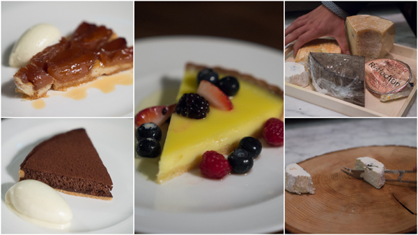 warm tarte tatin & vanilla ice cream, Graze chocolate tart, lemon tart with fresh berries, cheese